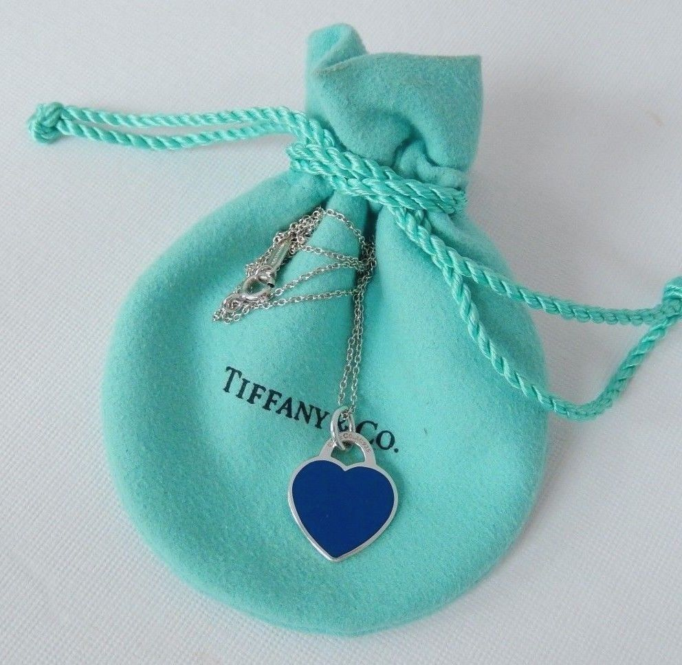 550352238 Tiffany & Co Silver Return to Navy Blue Enamel Heart Pendant Charm Necklace  #TiffanyCo #Pendant