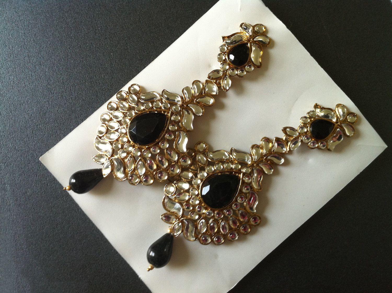 Black Kundan Chandelier Earrings, Kundan Crystal Long Earrings ...
