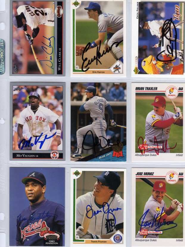Signed Baseball Cards Include Will Clark Cecil Fielder Mo