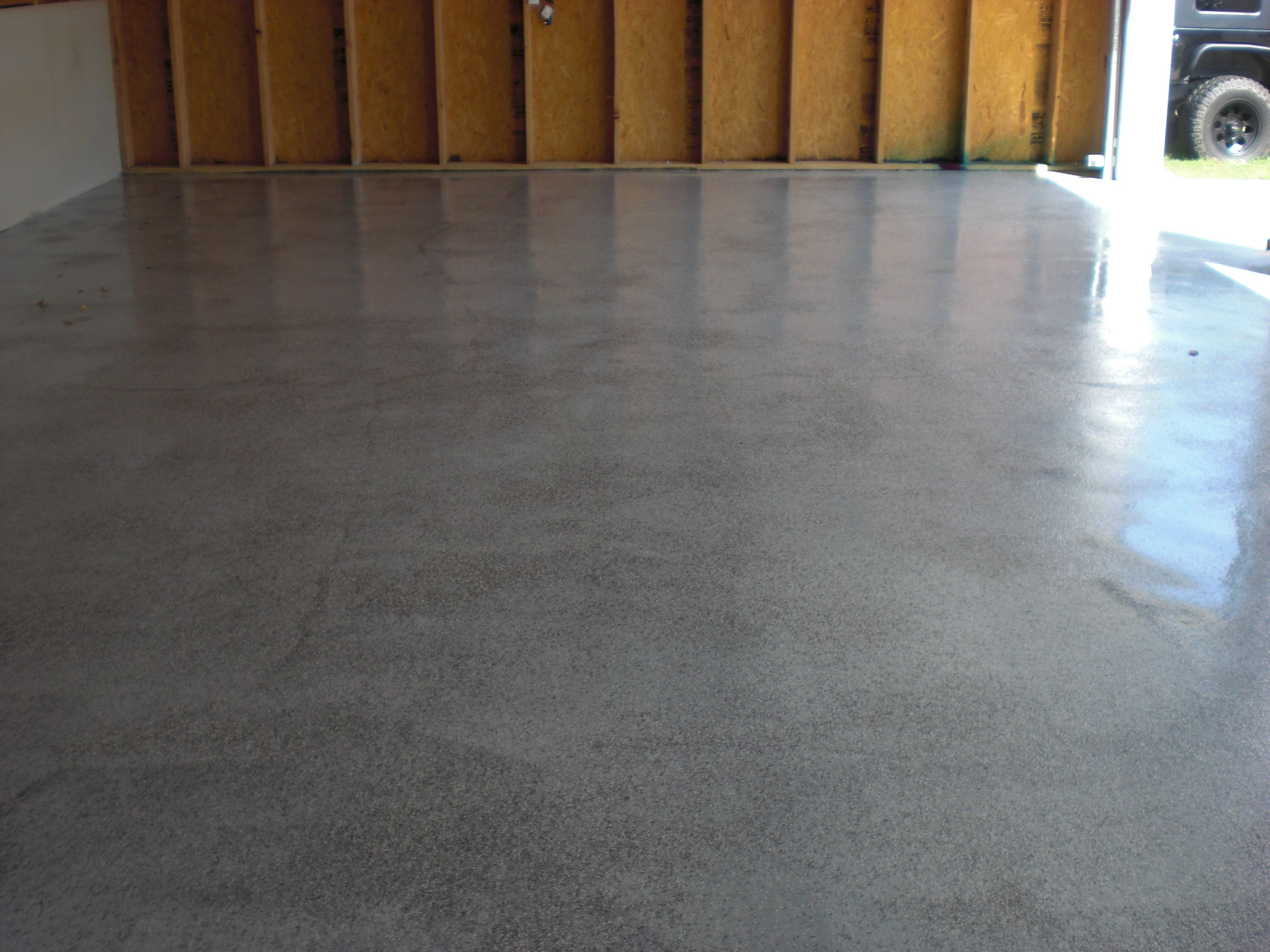 A Gray Epoxy With Black White And Gray Flakes Garage Floor A