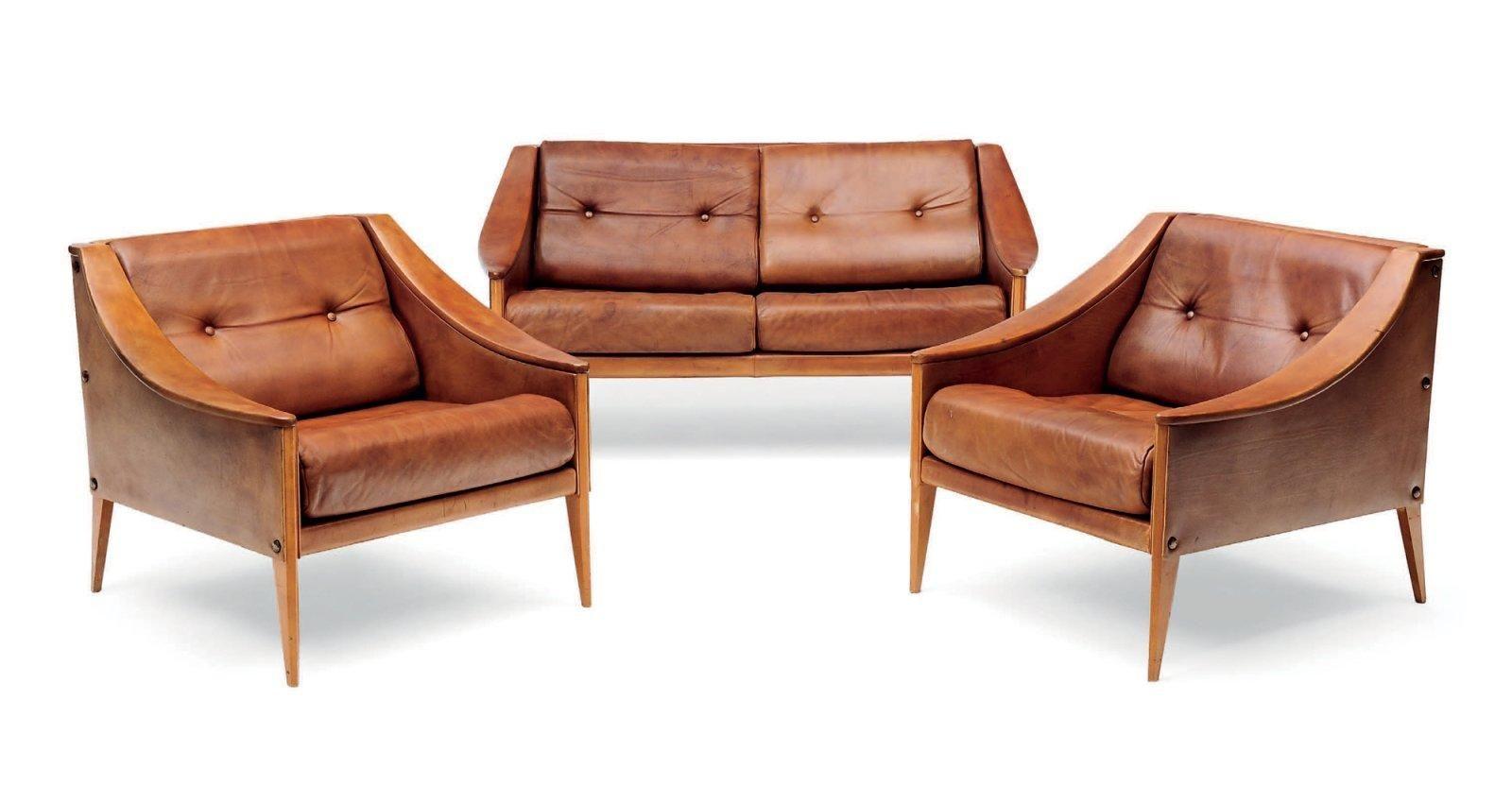 H Et H Canapé gio ponti (1891-1979) canapé et paire de fauteuils dezza