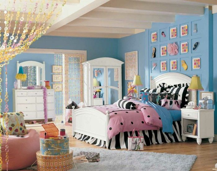 Attractive Youth Bed Girls Room Youth Room Set Up White Furniture Blue Wall Color