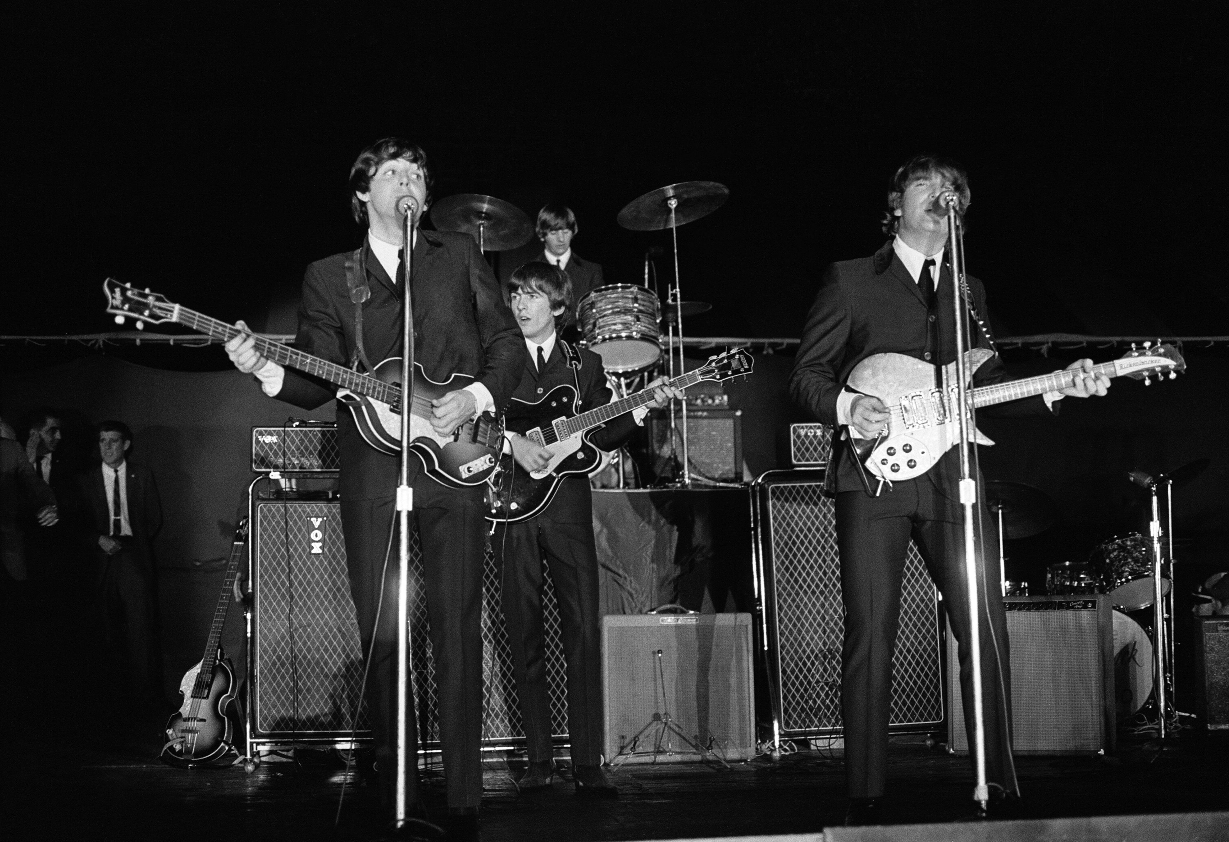 The Beatles 1964 Summer Tour Of United States And Canada Performing On Stage At Forest Hills Tennis Stadium In New York During