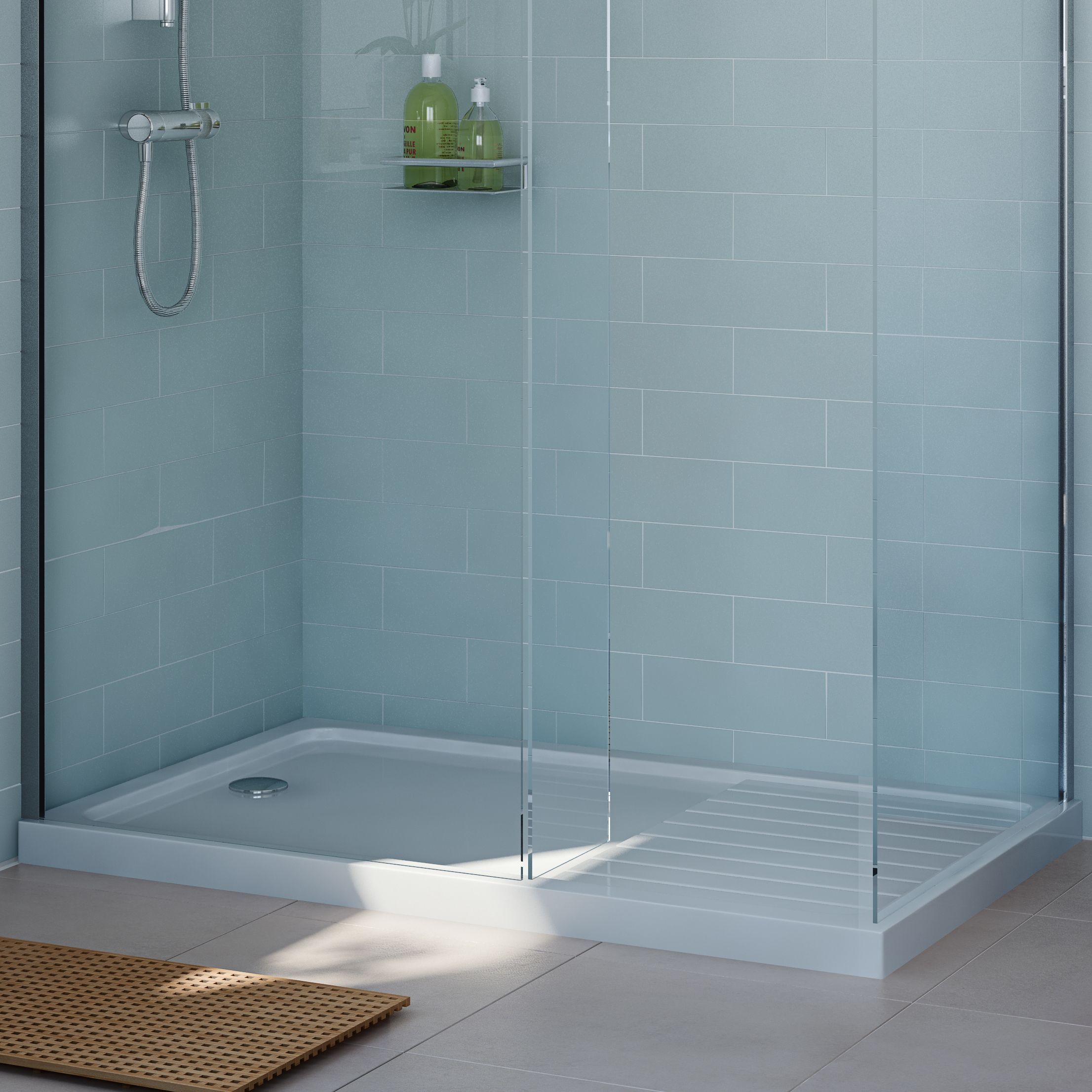 Cooke Amp Lewis Rectangular Shower Tray L 1300mm W 800mm D 40mm Departments Diy At B Amp Q Shower Tray Boys Bathroom Walk Through Shower