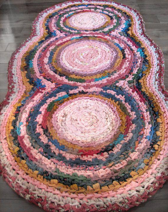 Rose Triple Disc Crocheted Rag Rug Crochet Rag Rug Rag Rug Diy Rug