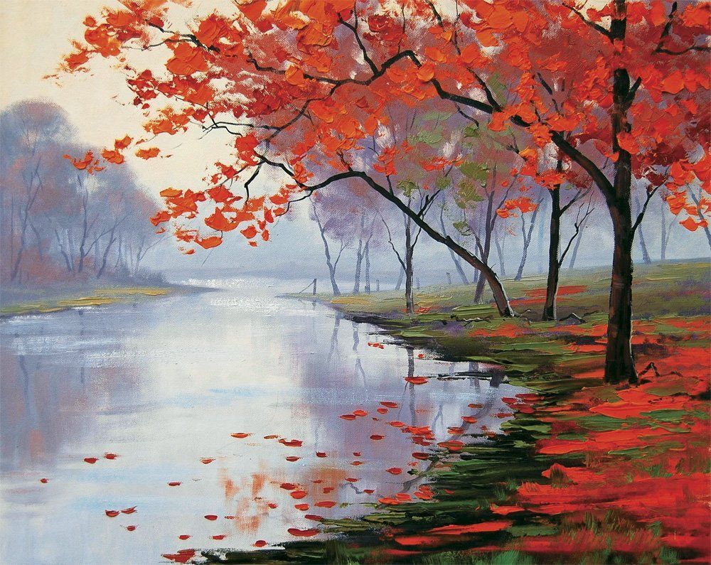 Faim Paintings Canvas Print Of Landscape Art Autumn Leaves - Frameless, 30x24 Inch: Amazon.in: Home & Kitchen