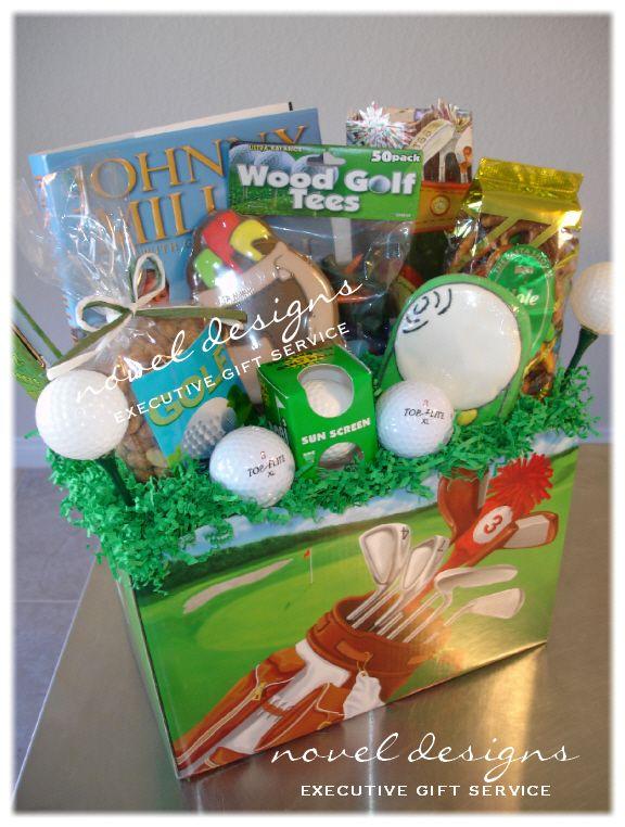 Novel Design's Gone Golfing Gift Basket using our Golf Scene Gift Basket Box. noveldesignsllc.com