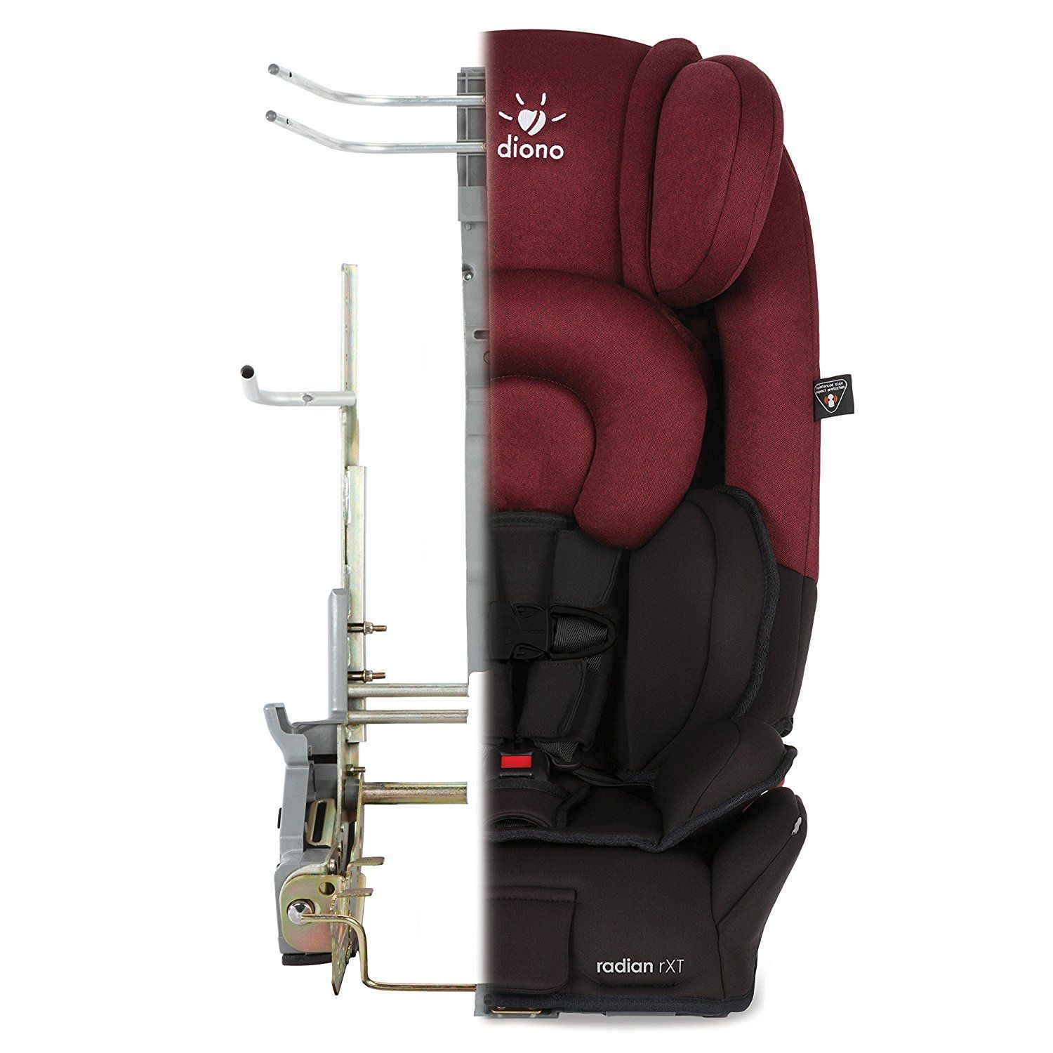The diono radianrxt convertible booster car seats are designed with a full steel frame aluminum reinforced sides providing unmatched safety