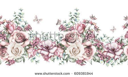 isolated Seamless border with pink flowers, leaves. vintage watercolor floral pattern with leaf and rose, herbs. Pastel color. Seamless floral rim, band for cards, wedding or fabric.