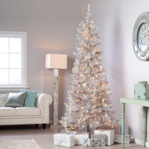 Silver Tiffany Tinsel Pre-Lit Christmas Tree by Sterling Tree ...