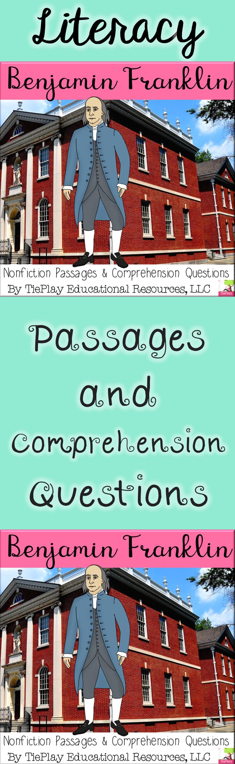 Benjamin Franklin Nonfiction Passages And Comprehension Questions No Prep Nonfiction Passages Education Language Arts Centers [ 2496 x 768 Pixel ]