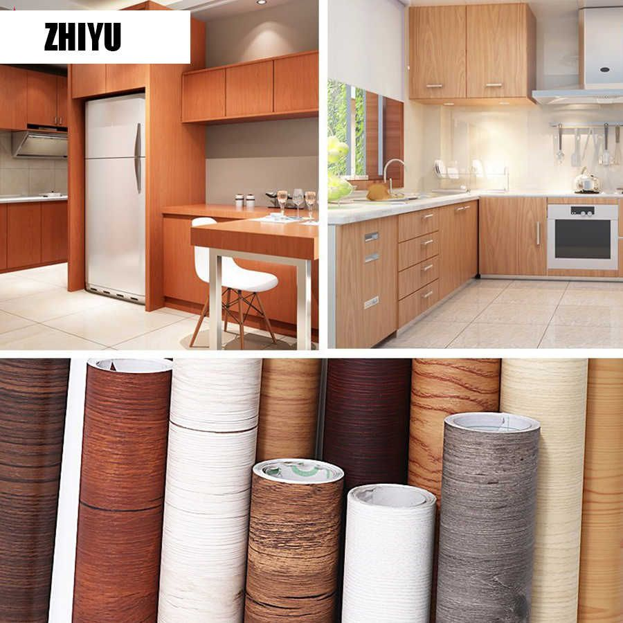 Pvc Wall Sticker Vinyl Contact Paper Self Adhesive Wallpaper For Kitchen Cabinet Waterproof Shelf Liner Home Decor Wall Paper Wall Stickers Aliexpress In 2020 Wallpaper For Kitchen Cabinets Wood Vinyl Vinyl Wallpaper