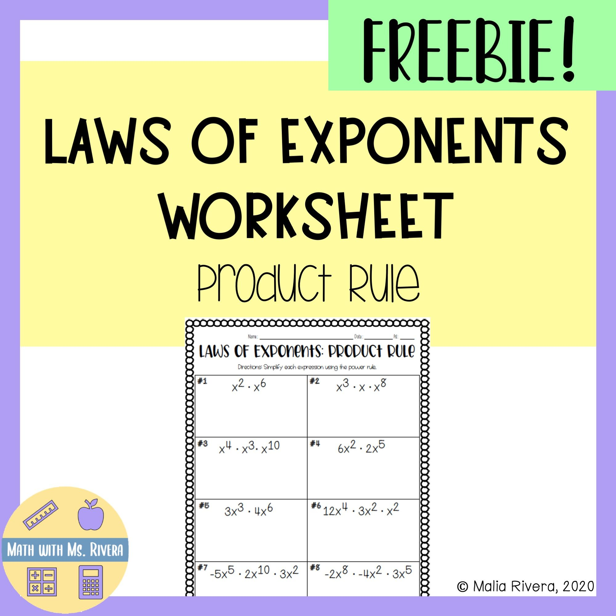 Laws Of Exponents Product Rule Worksheet Freebie Product Rule Exponents Exponent Worksheets