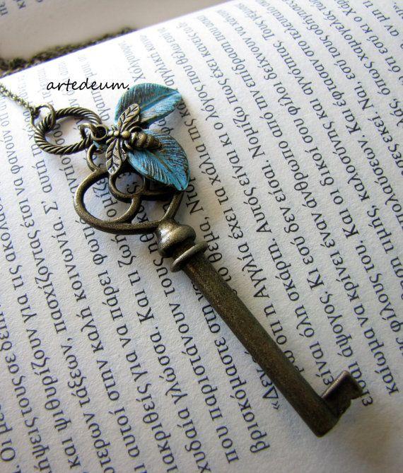 057c3da725b4 Key necklace Skeleton Antique Key Pendant Bronze Nature Inspired Bumble Bee  Key necklace on Etsy