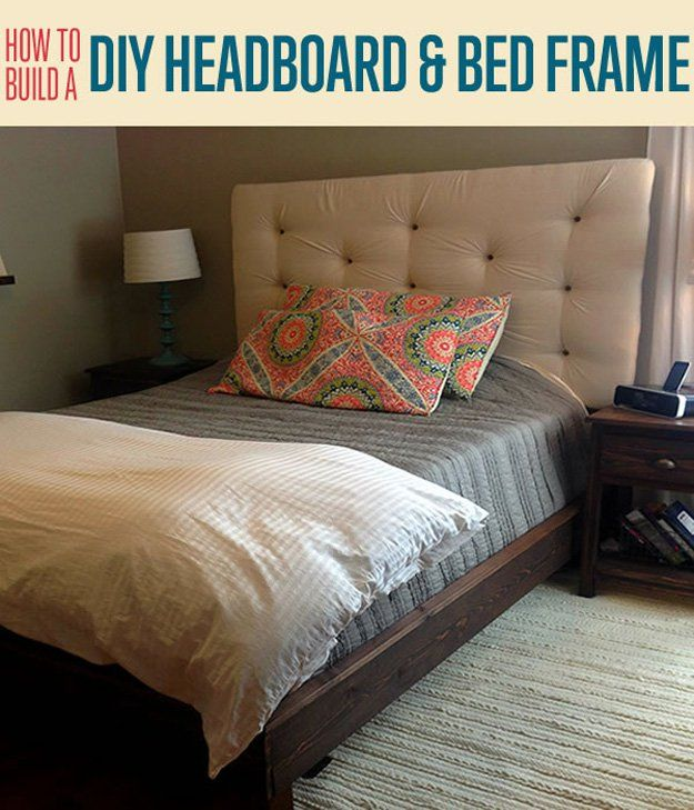 This DIY Upholstered Headboard And Do It Yourself Platform Bed Frame Can Be  Put Together With This Easy DIY Project. Cool, Inexpensive DIY Home Decor  Ideas.