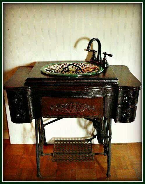 Sewing machine sink Singer sewing tables repurposed Pinterest - wohnzimmer ideen alt