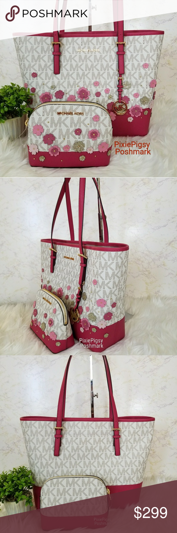 fc41b0832ad5ca Michael Kors Jet Set Floral Applique Bag Pouch Set Brand new with tags. (Tag