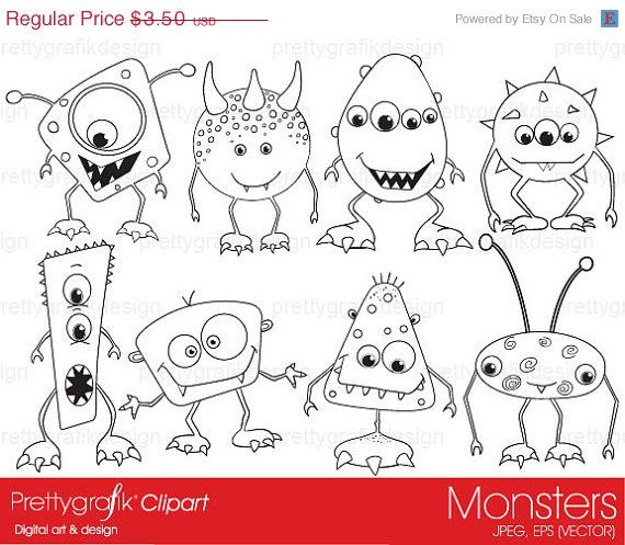 monsters digital stamp commercial use, vector graphics, digital ...
