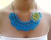 Turquoise Necklace, choker necklace, statement necklace, crochet necklace