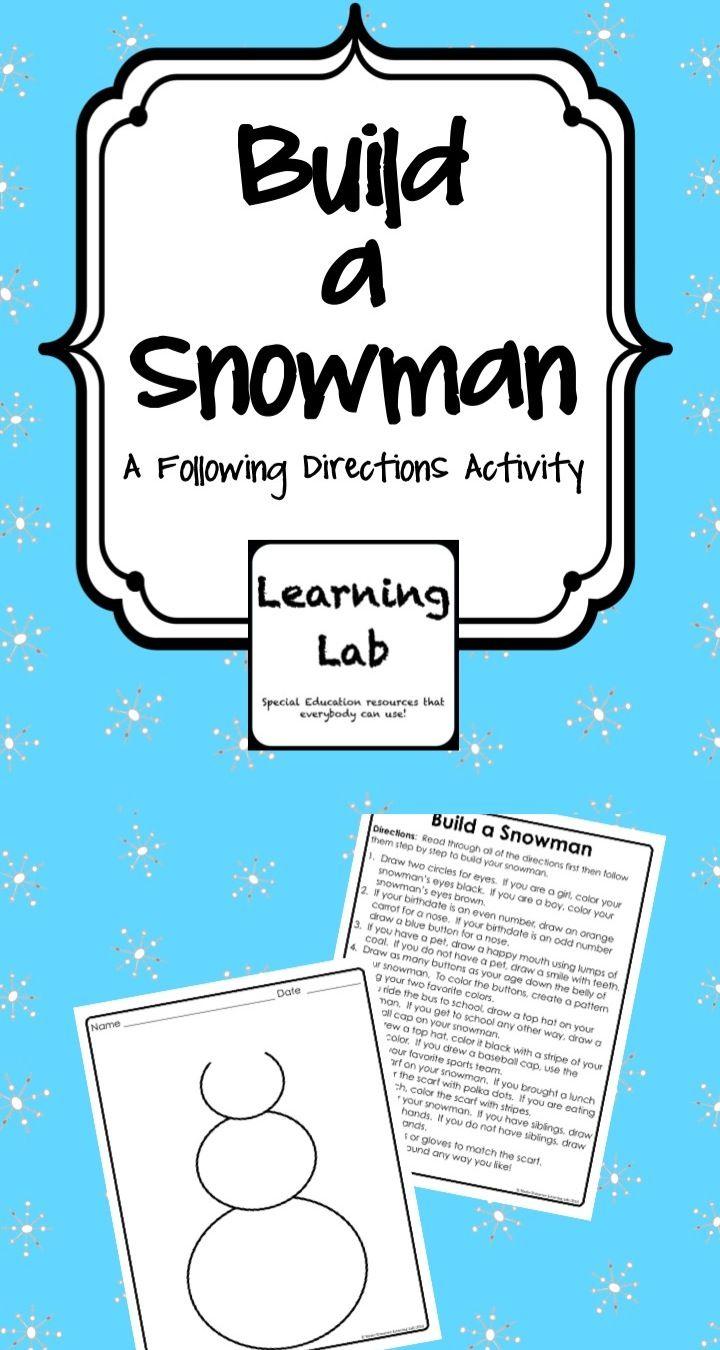 Build A Snowman Following Directions Tpt Language Arts Lessons