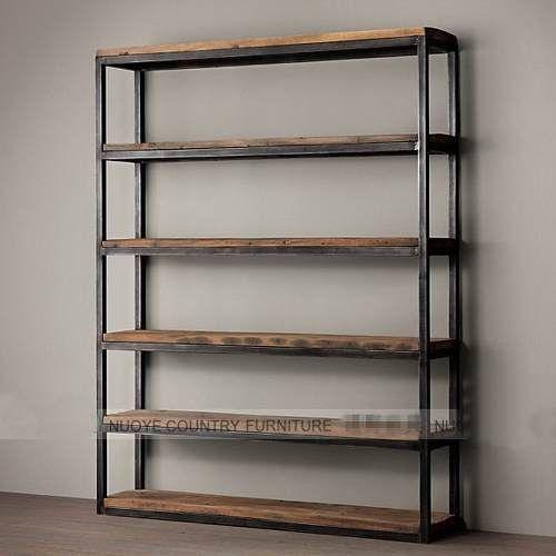 estanteria biblioteca en hierro y madera