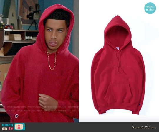 5da957cab3 Junior s red Champion hoodie on Black-ish. Outfit Details  https