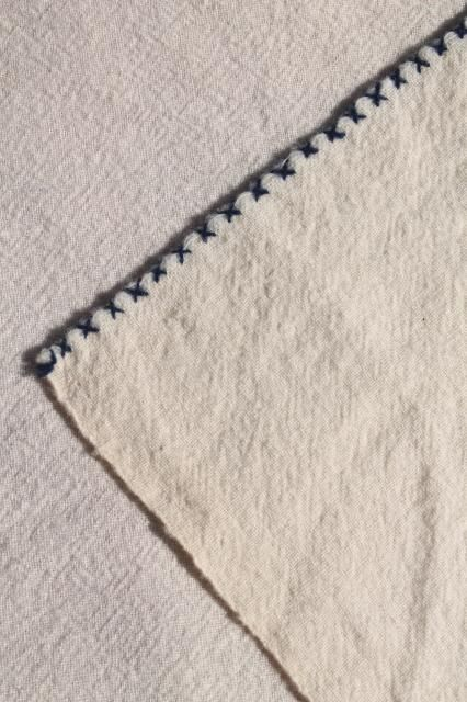 Marvelous Antique Homespun Wool Blanket, 1800s Vintage Shaker Hand Woven Coverlet W/  Blue Embroidery