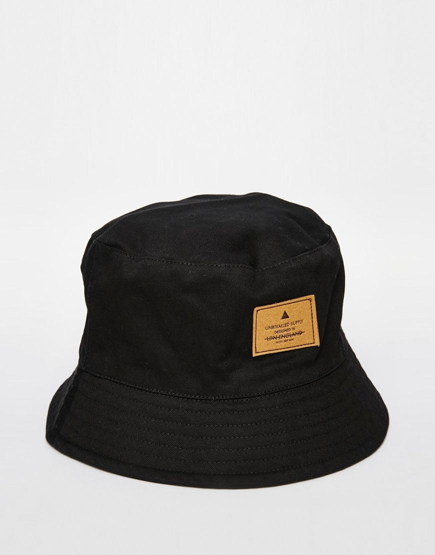 Image 1 of ASOS Bucket Hat In Black With Patch  05513c6aa746