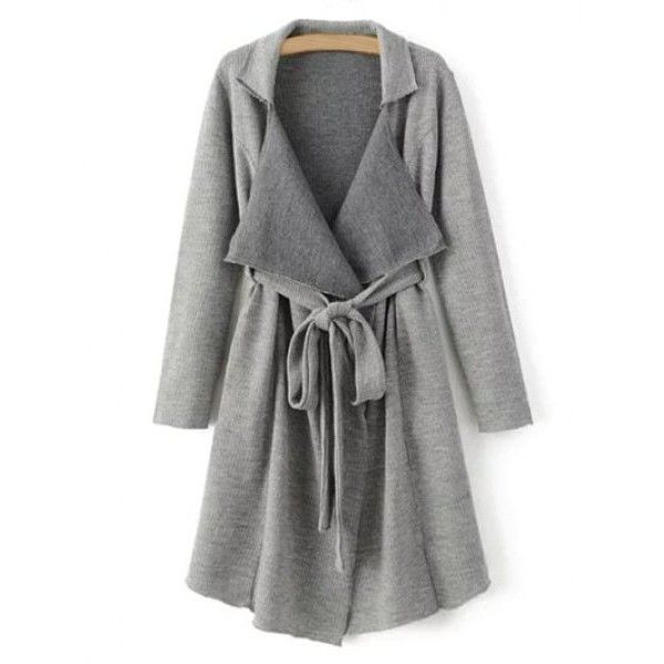 Lapel Belted Longline Cardigan With Pockets (719.100 VND) ❤ liked on Polyvore featuring tops and cardigans