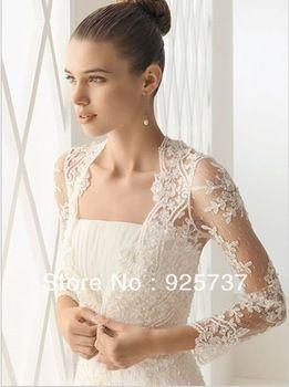 Long Sleeve Lace Bridal Bolero Jacket Fast Shipping Elegant Cheap Ivory Wedding Lace Bolero
