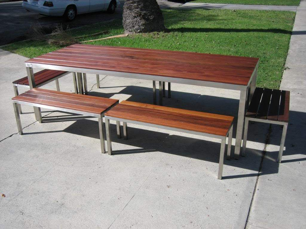 los angeles ca custom made stainless steel outdoor table with ipe  - los angeles ca custom made stainless steel outdoor table with ipe woodtop
