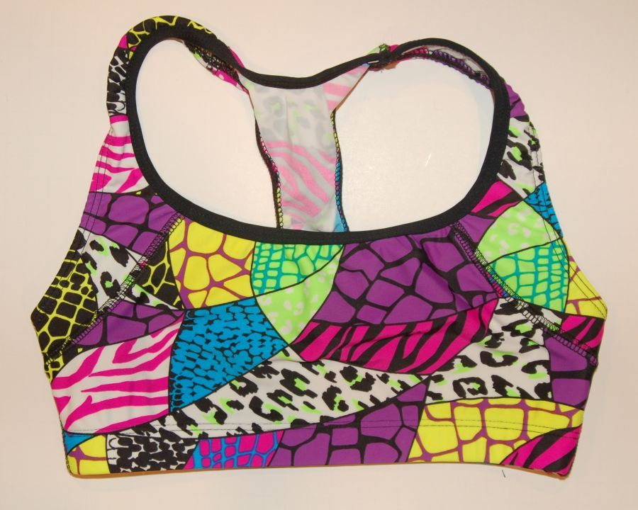 Animal Patchwork :: Sports Bra :: Spandex Sports Bras and Athletic Wear for Volleyball, Soccer, Field Hockey, Lacrosse, Running and all sports from #bskinz