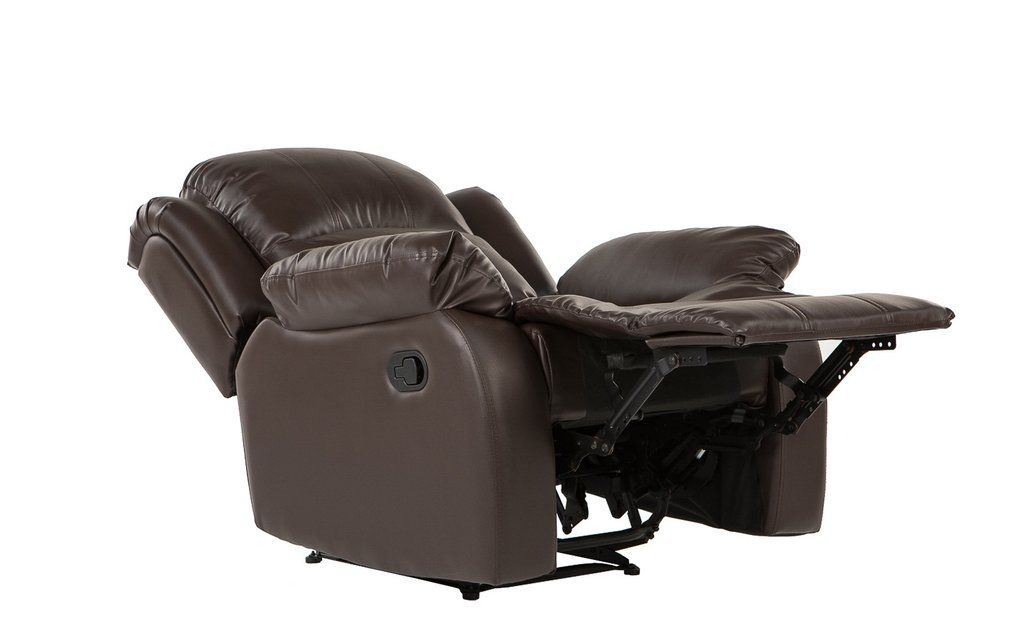 Classic Living Room Furniture Bonded Leather Upholstery Recliner Chair in Brown