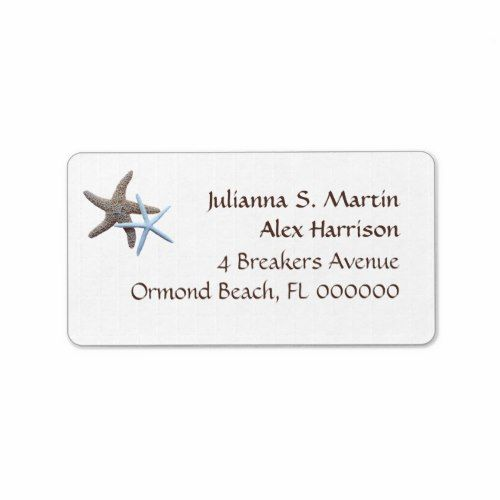 Starfish Tropical Theme Address Label