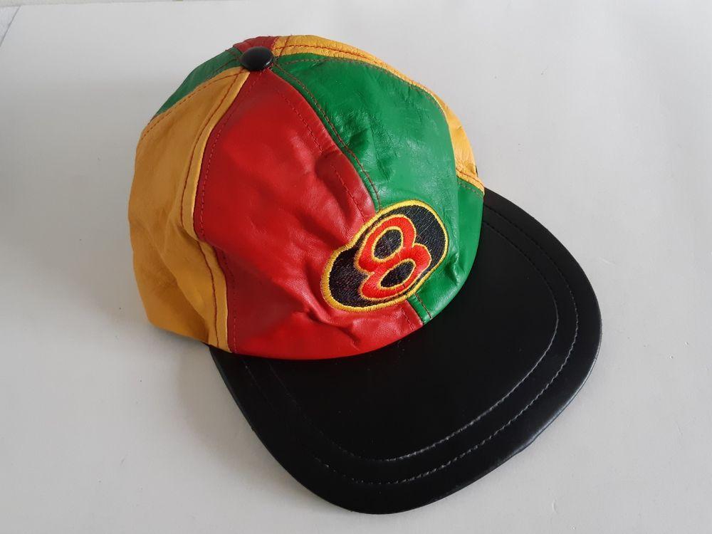 16c49e03e38f3 Vintage 8 Ball Color Block Leather Hat Michael Hoban style Hip Hop Rap   Unbranded