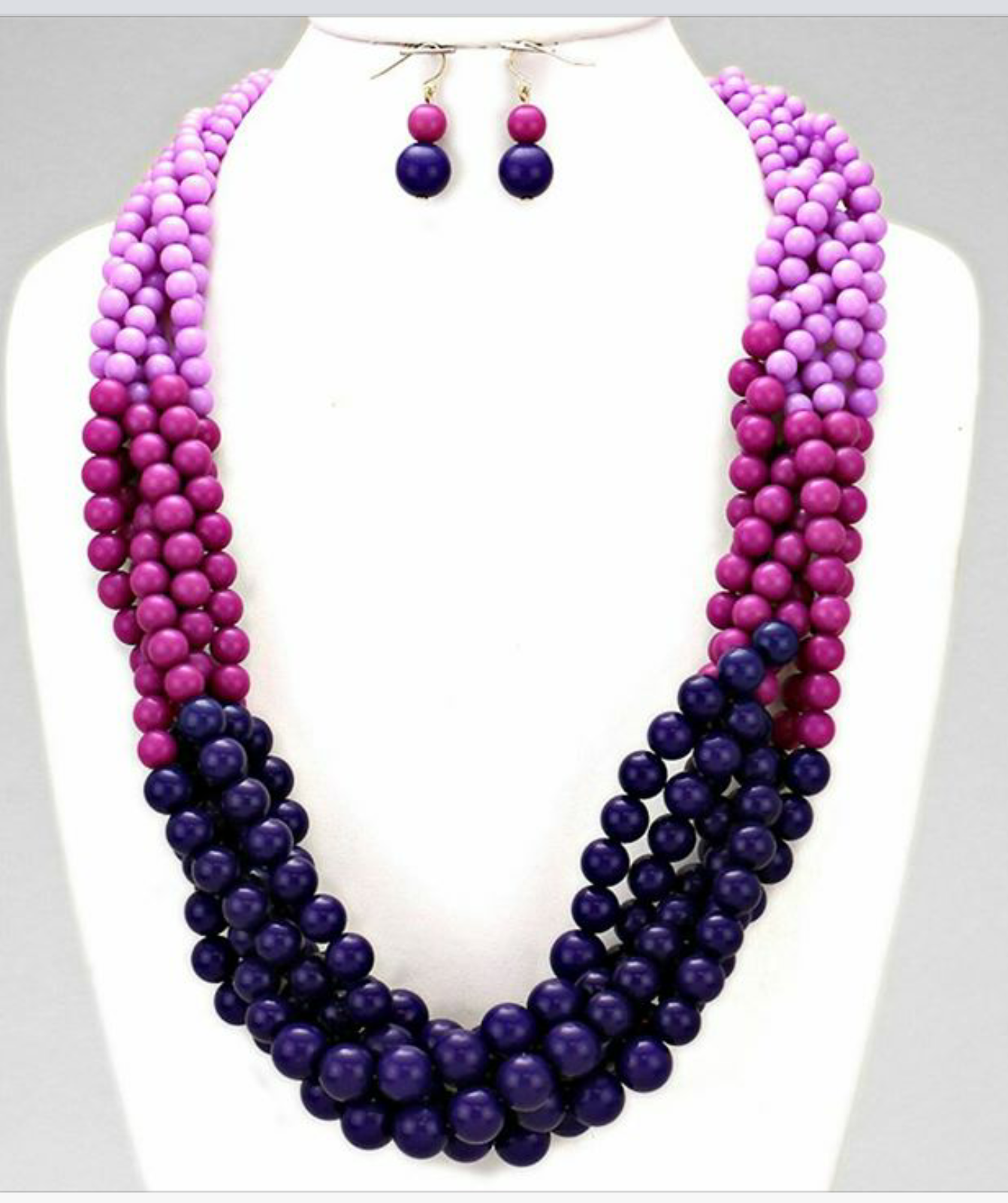 Lady Magnifique Collection OMBRE BRAIDED MULTI STRAND BEADS NECKLACE