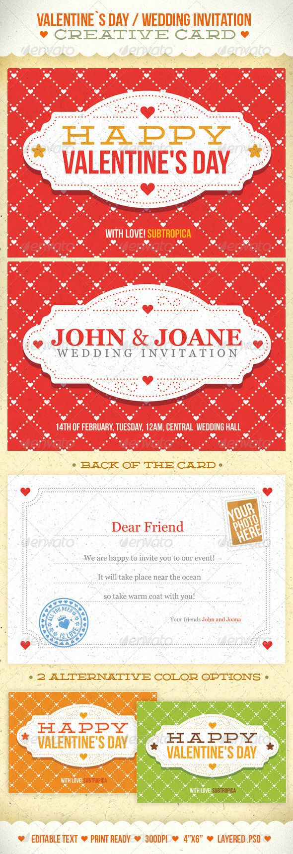 Valentine\'s Day And Wedding Invitation Postcard | Wedding invitation ...