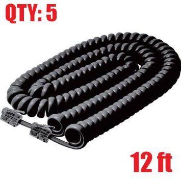 12ft 12 Feet 12/' foot BLACK Modular Plug Coiled Telephone Handset Cord
