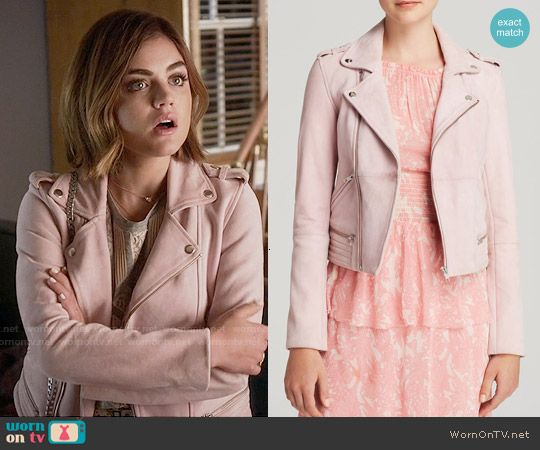 Aria's pink leather jacket on Pretty Little Liars.  Outfit Details: https://wornontv.net/55693/ #PLL