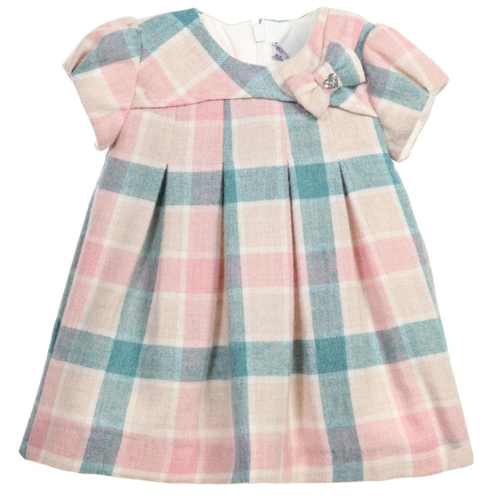 Baby Girls Pink & Blue Checked Wool Dress, Mayoral, Girl
