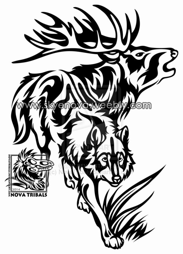 Go Back Gt Gallery For Gt Tribal Elk Tattoo Designs Elk Tattoo Dragon Tattoo Drawing Tattoo Designs