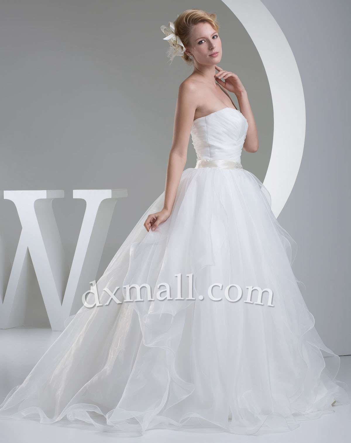 Dropped waist wedding dress  Drop Waist Wedding Dresses Sweetheart SweepBrush Train Diamond