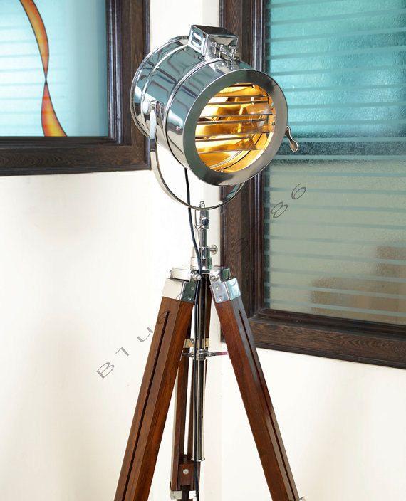 Captivating Designer Handmade Marine Nautical Floor Lamp Nautical Spot Studio Tripod Floor  Lamps Search Light USD) By