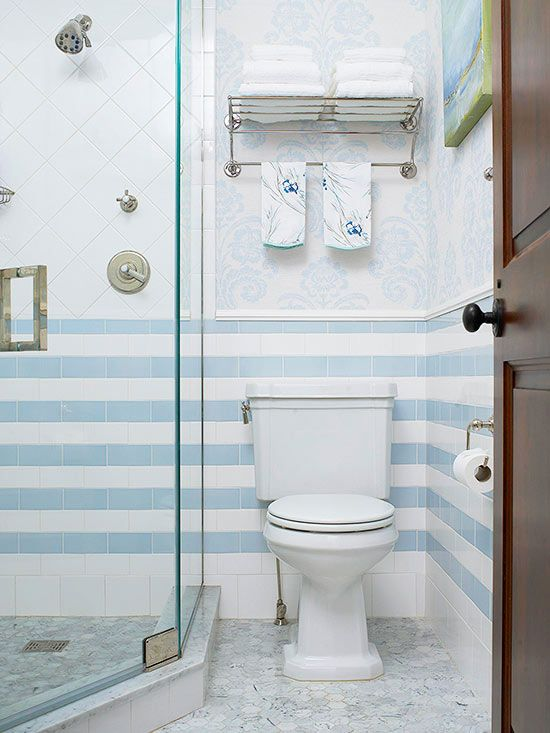 Why Stop Your Tile In The Shower Keep Going Around The Room For A Fabulous Design Update Small Bathroom With Shower Small Bath Small Bathroom