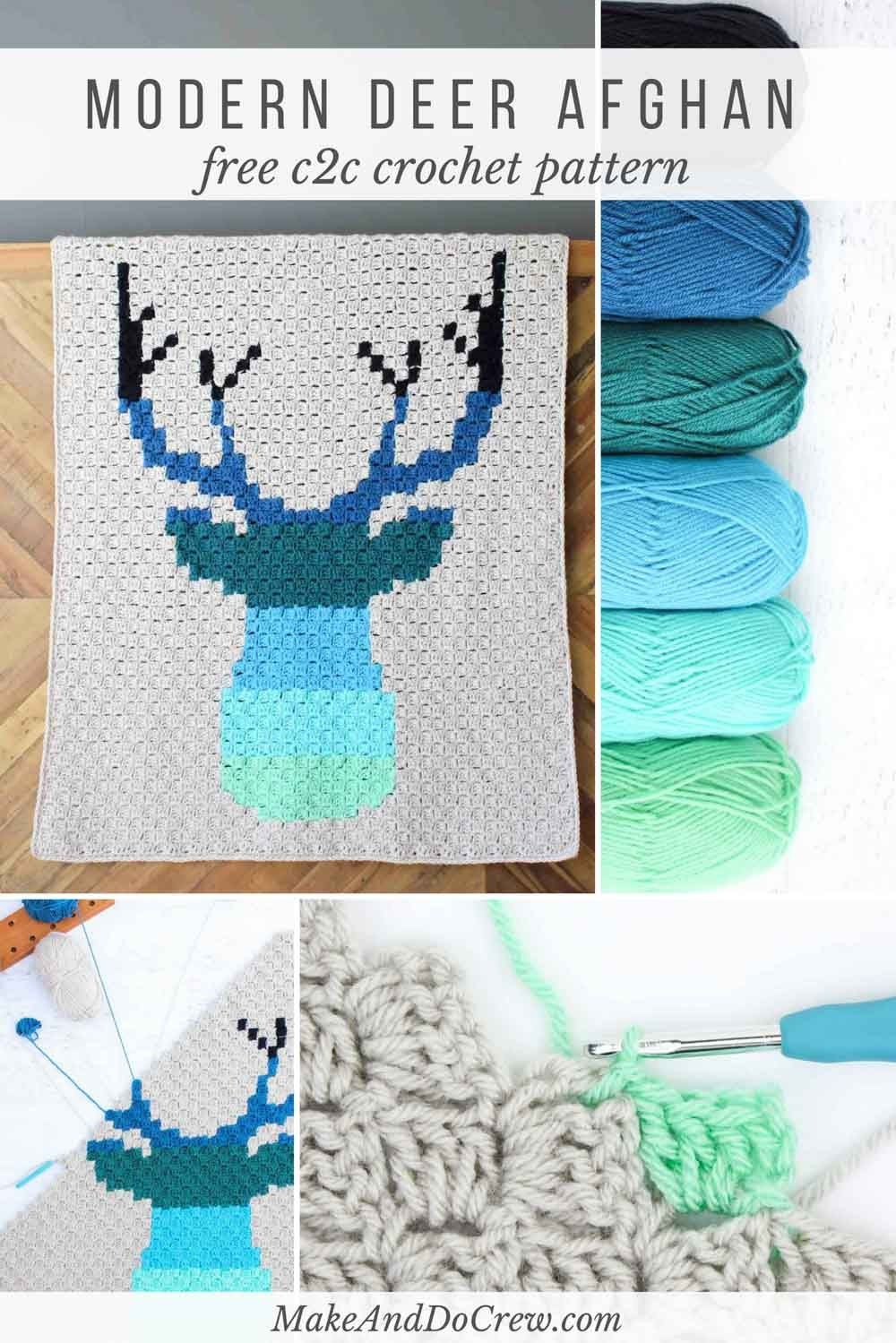 Modern Corner to Corner Crochet Deer Afghan - Free Pattern