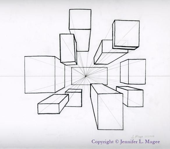 Boxes In 1-Point Perspective