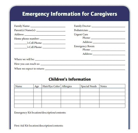 Emergency Information Sheet for Caregivers--good place to record - emergency action plan template