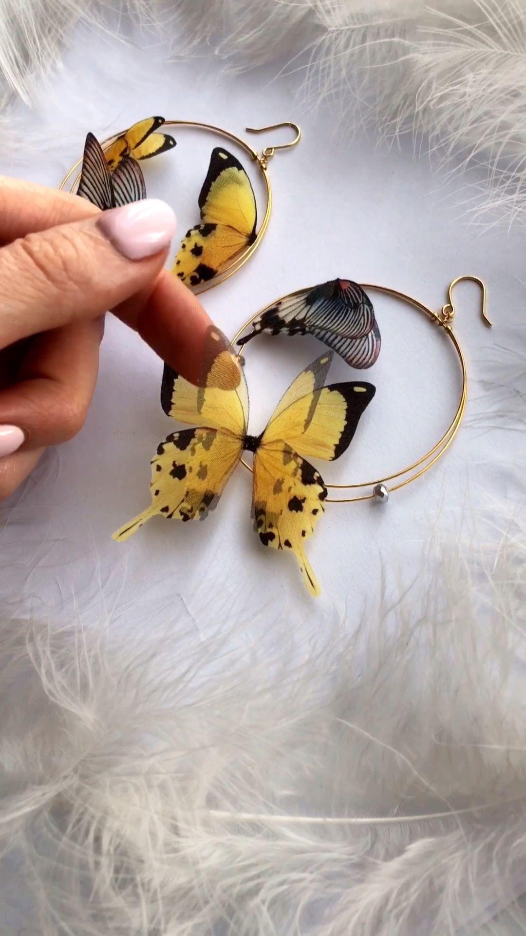 Silk Butterfly Earrings, Hoop Butterfly Earrings