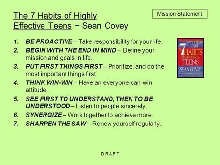 Pin By Terence Mccrea On Avid 7habit Writing A Mission Statement Personal Example Of 7 Habits