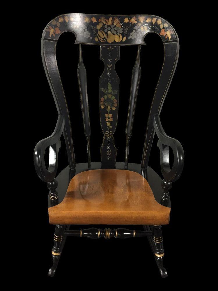 Ethan Allen Balloon Back Homestead Black Hitchcock Style Rocker Rocking Chair Rocking Chair Chair Venetian Mirrors